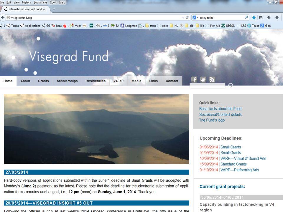 A Nemzetközi Visegrádi Alap www.visegradfund.org o Titkárság (15 fő) o Székhelye:Pozsony, Kráľovské údolie 8, 811 02 Bratislava, Szlovákia o Munkanyelve: angol o Éves költségvetése: 8.000,000 €