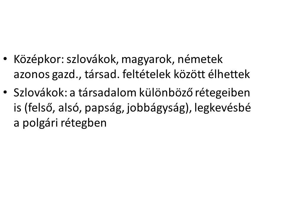Középkor: szlovákok, magyarok, németek azonos gazd., társad. feltételek között élhettek Szlovákok: a társadalom különböző rétegeiben is (felső, alsó,