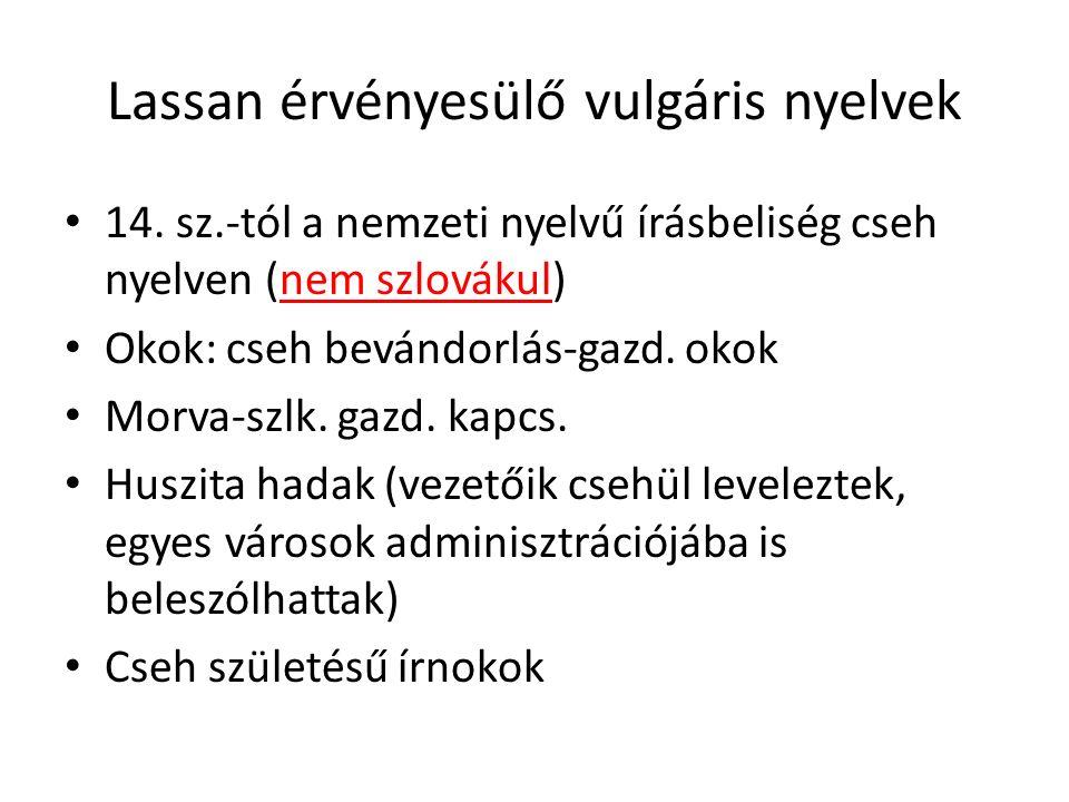 Lassan érvényesülő vulgáris nyelvek 14. sz.-tól a nemzeti nyelvű írásbeliség cseh nyelven (nem szlovákul) Okok: cseh bevándorlás-gazd. okok Morva-szlk