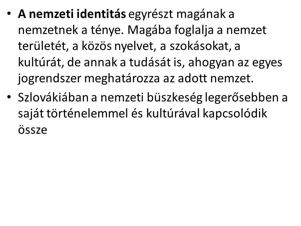 A nemzeti identitás egyrészt magának a nemzetnek a ténye. Magába foglalja a nemzet területét, a közös nyelvet, a szokásokat, a kultúrát, de annak a tu