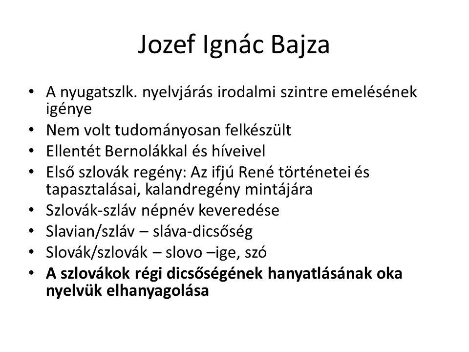 Jozef Ignác Bajza A nyugatszlk. nyelvjárás irodalmi szintre emelésének igénye Nem volt tudományosan felkészült Ellentét Bernolákkal és híveivel Első s