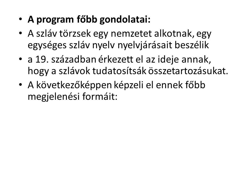 A program főbb gondolatai: A szláv törzsek egy nemzetet alkotnak, egy egységes szláv nyelv nyelvjárásait beszélik a 19.