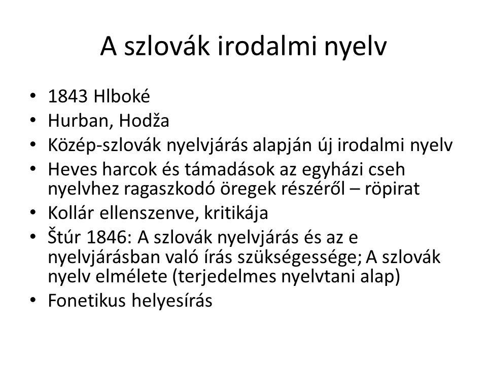 A szlovák irodalmi nyelv 1843 Hlboké Hurban, Hodža Közép-szlovák nyelvjárás alapján új irodalmi nyelv Heves harcok és támadások az egyházi cseh nyelvh