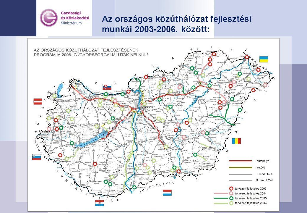 Az országos közúthálózat fejlesztési munkái 2003-2006. között:
