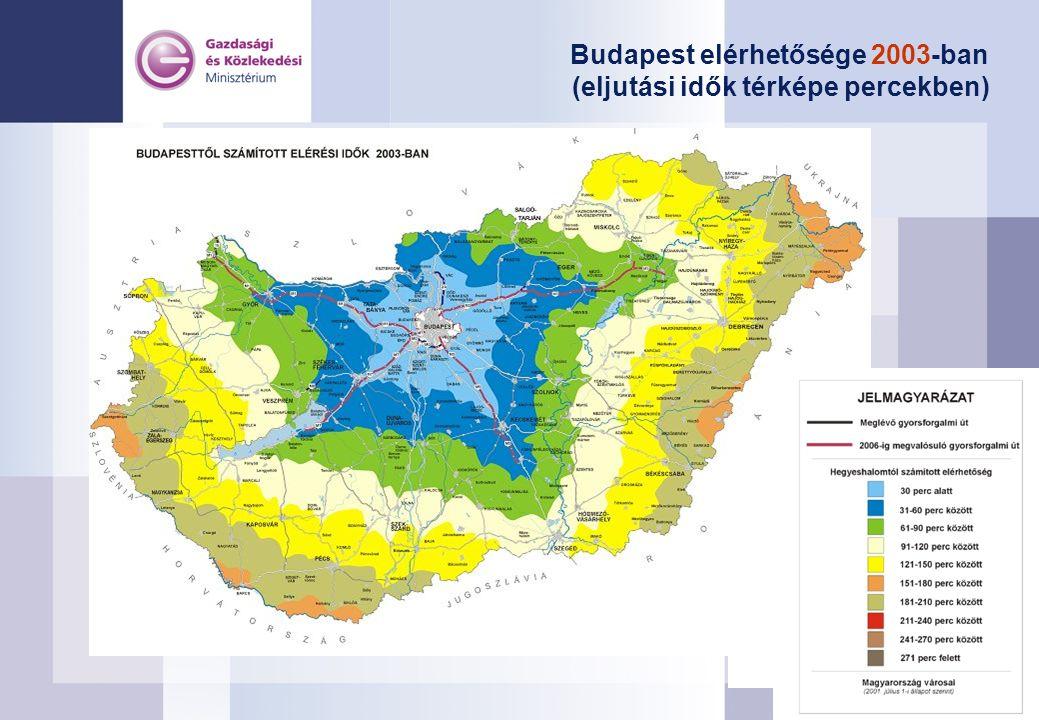Budapest elérhetősége 2003-ban (eljutási idők térképe percekben)
