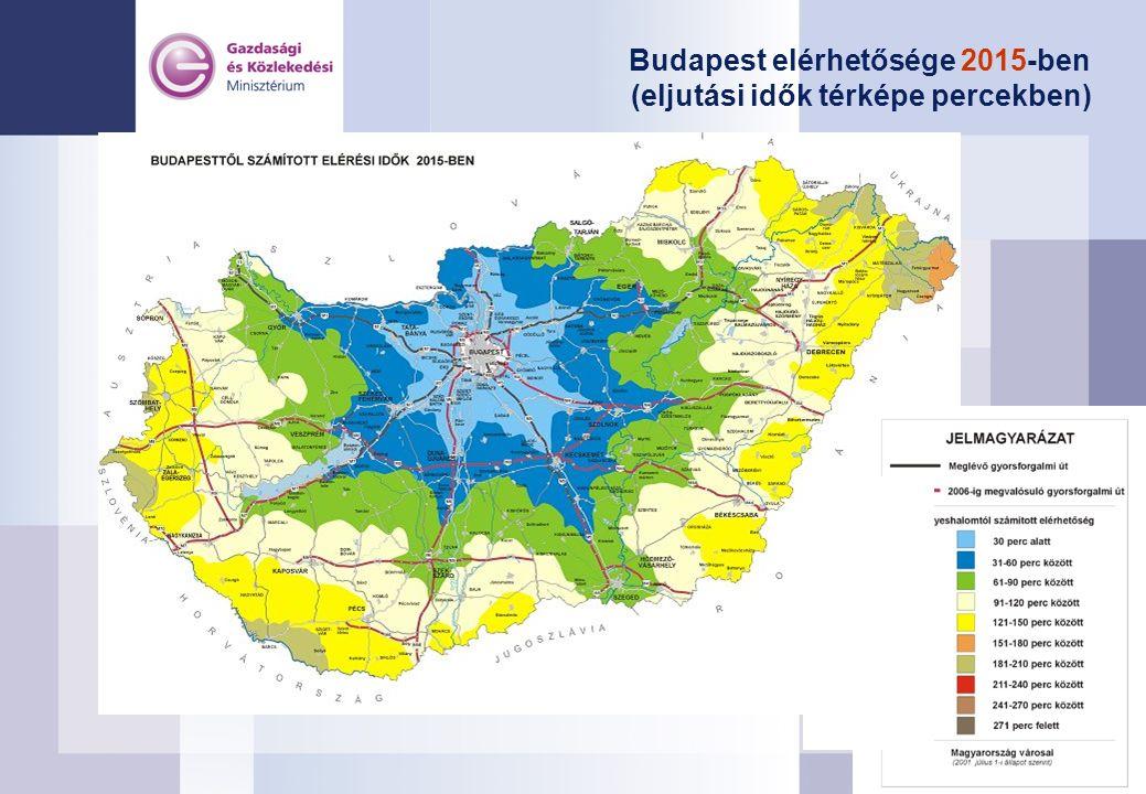 Budapest elérhetősége 2015-ben (eljutási idők térképe percekben)