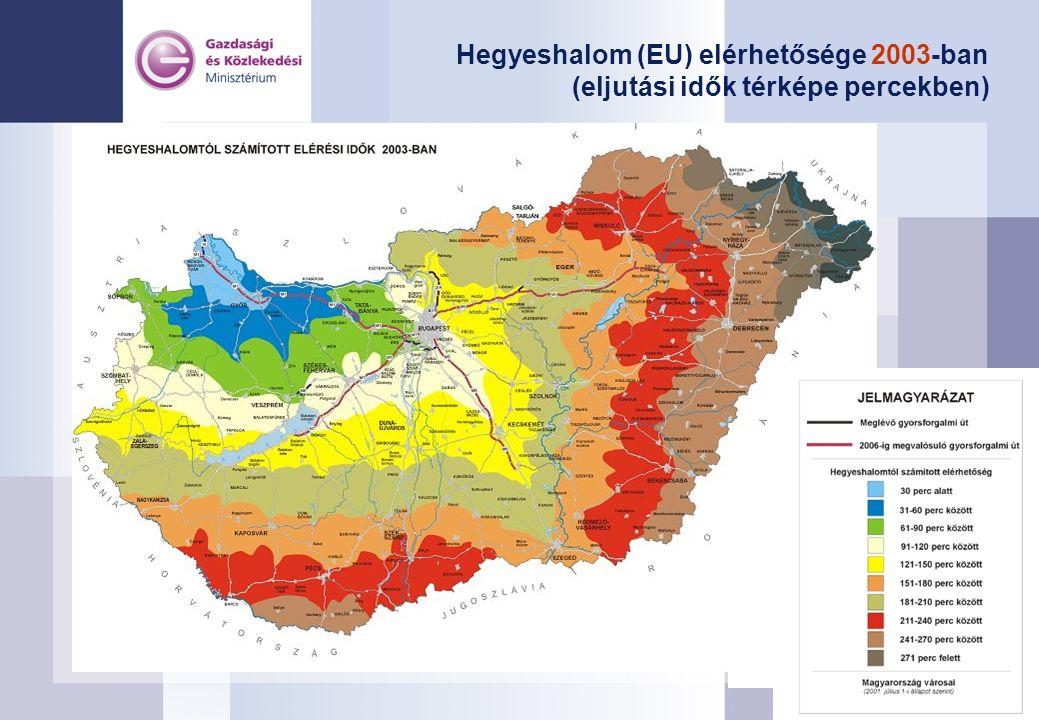 Hegyeshalom (EU) elérhetősége 2003-ban (eljutási idők térképe percekben)