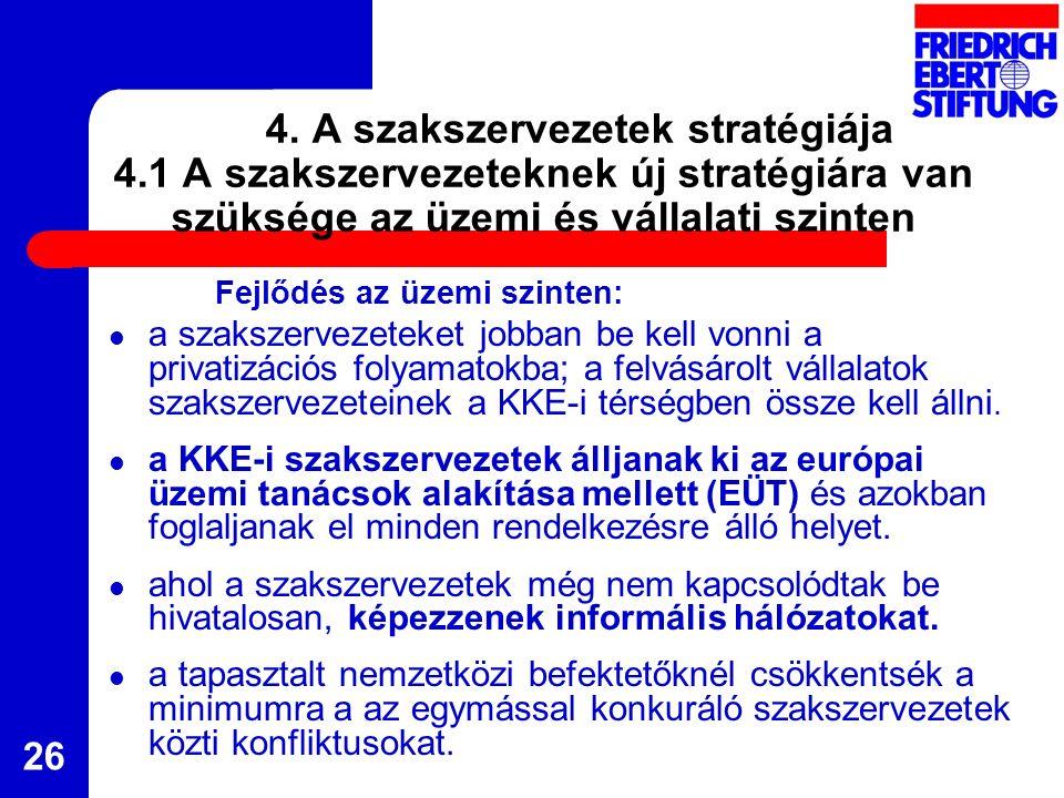 26 4. A szakszervezetek stratégiája 4.1 A szakszervezeteknek új stratégiára van szüksége az üzemi és vállalati szinten Fejlődés az üzemi szinten: a sz