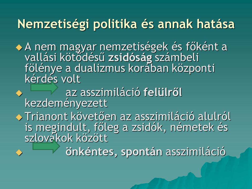 Nemzetiségi politika és annak hatása  A nem magyar nemzetiségek és főként a vallási kötődésű zsidóság számbeli fölénye a dualizmus korában központi k