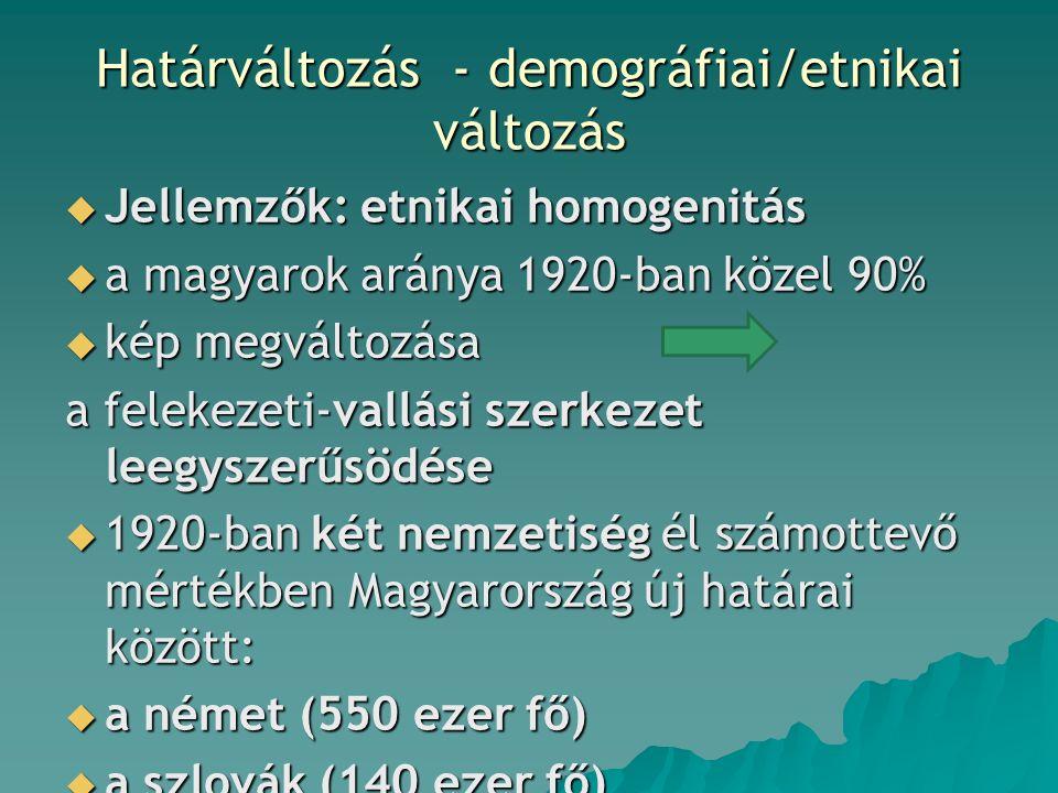 Határváltozás - demográfiai/etnikai változás  Jellemzők: etnikai homogenitás  a magyarok aránya 1920-ban közel 90%  kép megváltozása a felekezeti-vallási szerkezet leegyszerűsödése  1920-ban két nemzetiség él számottevő mértékben Magyarország új határai között:  a német (550 ezer fő)  a szlovák (140 ezer fő)