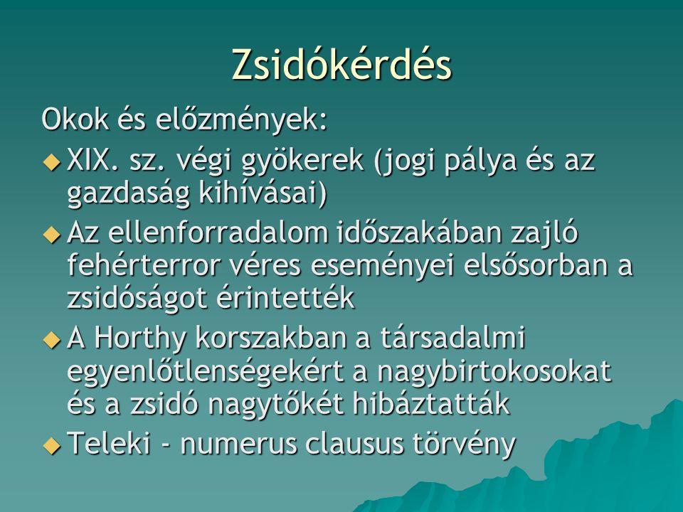 Zsidókérdés Okok és előzmények:  XIX. sz.