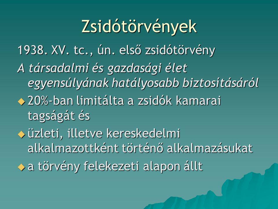Zsidótörvények 1938. XV. tc., ún.