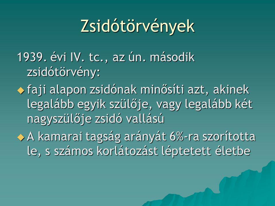 Zsidótörvények 1939. évi IV. tc., az ún.