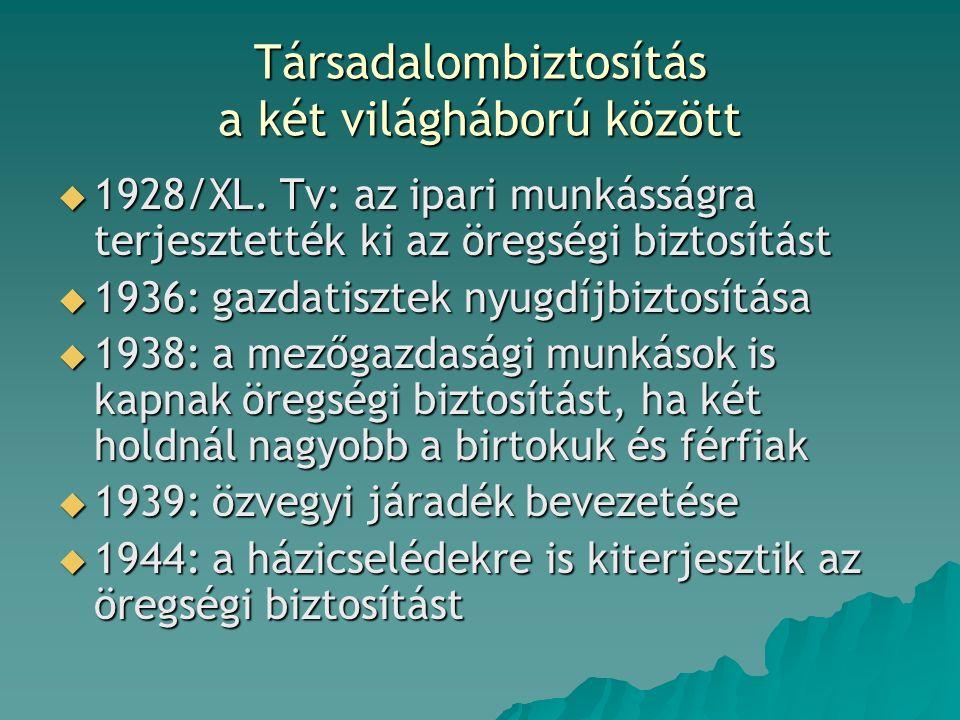 Társadalombiztosítás a két világháború között  1928/XL.