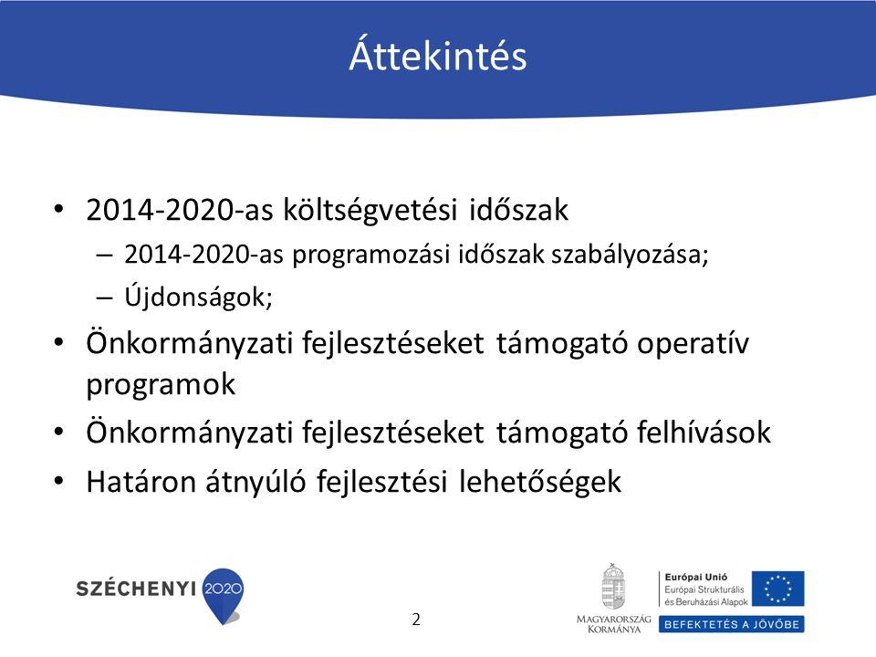 Áttekintés 2014-2020-as költségvetési időszak – 2014-2020-as programozási időszak szabályozása; – Újdonságok; Önkormányzati fejlesztéseket támogató operatív programok Önkormányzati fejlesztéseket támogató felhívások Határon átnyúló fejlesztési lehetőségek 2