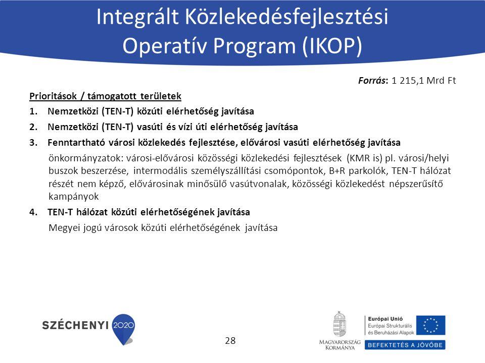 Integrált Közlekedésfejlesztési Operatív Program (IKOP) Forrás: 1 215,1 Mrd Ft Prioritások / támogatott területek 1.Nemzetközi (TEN-T) közúti elérhetőség javítása 2.Nemzetközi (TEN-T) vasúti és vízi úti elérhetőség javítása 3.Fenntartható városi közlekedés fejlesztése, elővárosi vasúti elérhetőség javítása önkormányzatok: városi-elővárosi közösségi közlekedési fejlesztések (KMR is) pl.