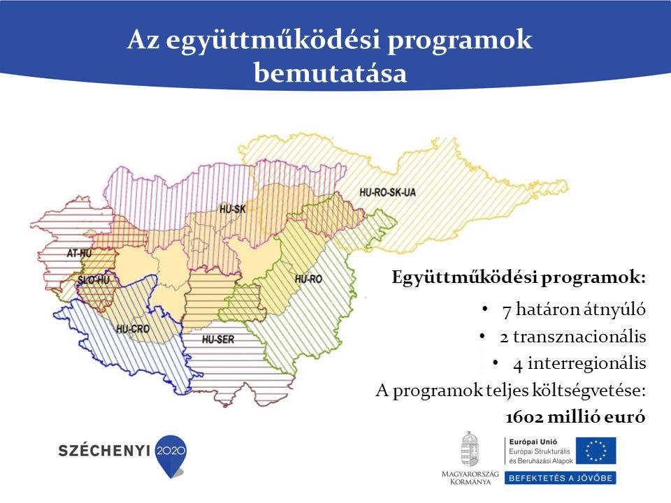 Az együttműködési programok bemutatása Együttműködési programok: 7 határon átnyúló 2 transznacionális 4 interregionális A programok teljes költségvetése: 1602 millió euró