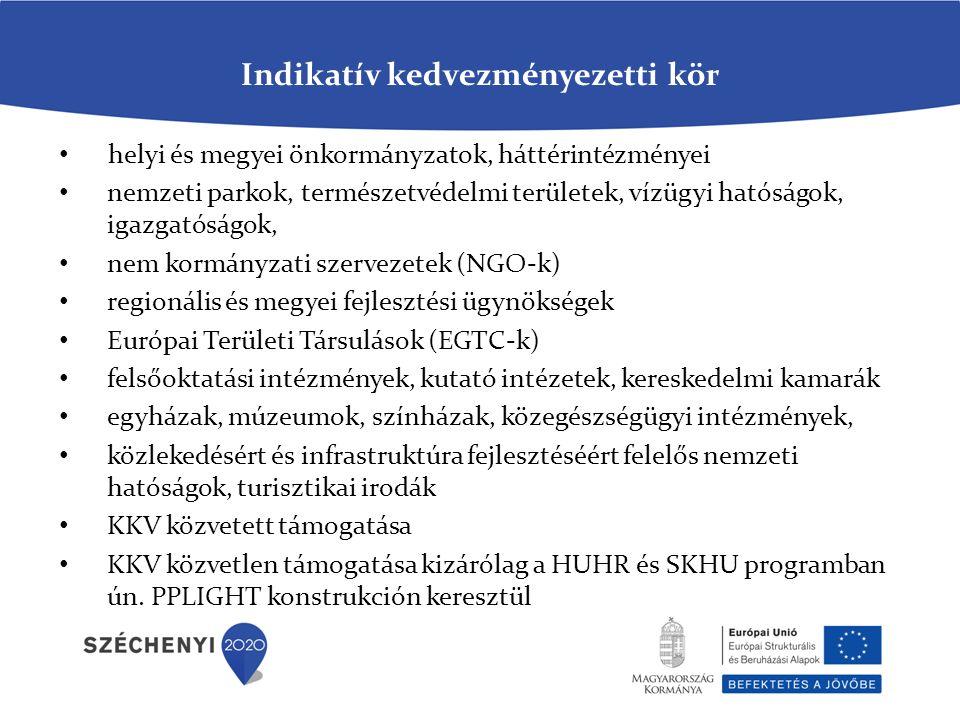 Indikatív kedvezményezetti kör helyi és megyei önkormányzatok, háttérintézményei nemzeti parkok, természetvédelmi területek, vízügyi hatóságok, igazgatóságok, nem kormányzati szervezetek (NGO-k) regionális és megyei fejlesztési ügynökségek Európai Területi Társulások (EGTC-k) felsőoktatási intézmények, kutató intézetek, kereskedelmi kamarák egyházak, múzeumok, színházak, közegészségügyi intézmények, közlekedésért és infrastruktúra fejlesztéséért felelős nemzeti hatóságok, turisztikai irodák KKV közvetett támogatása KKV közvetlen támogatása kizárólag a HUHR és SKHU programban ún.