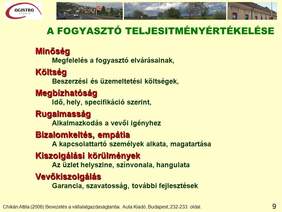 9 Chikán Attila (2006) Bevezetés a vállalatgazdaságtanba. Aula Kiadó, Budapest, 232-233. oldal. A FOGYASZTÓ TELJESITMÉNYÉRTÉKELÉSE Minőség Megfelelés