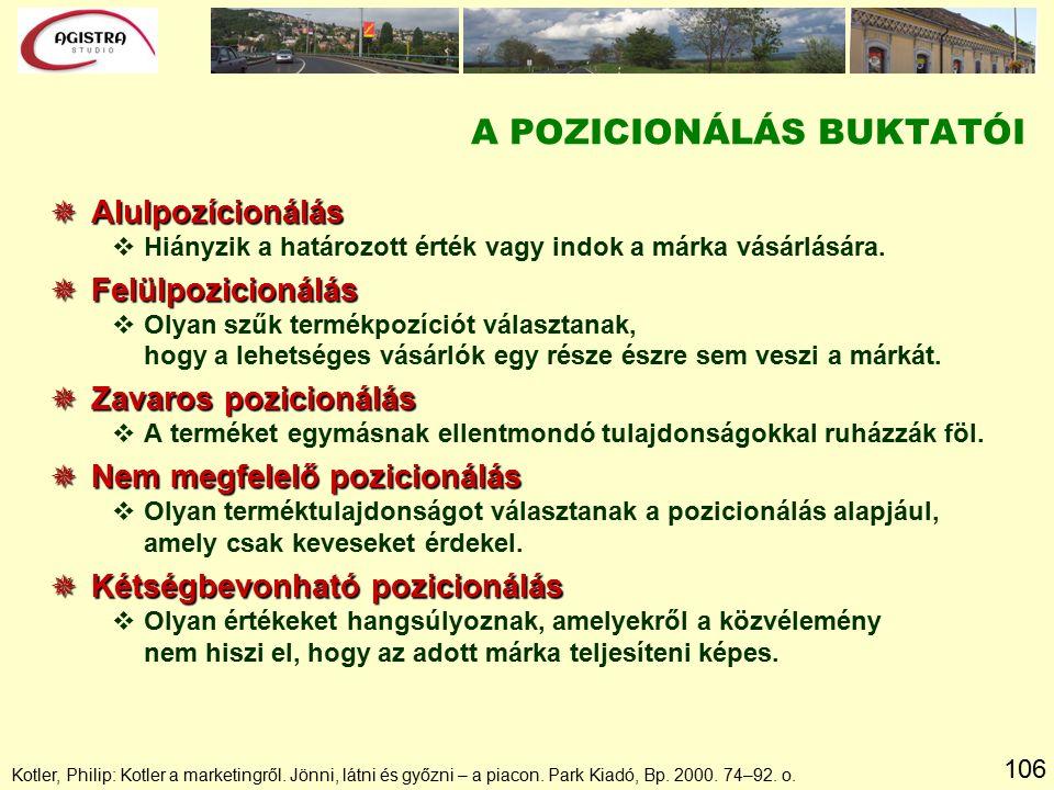 106 Kotler, Philip: Kotler a marketingről. Jönni, látni és győzni – a piacon. Park Kiadó, Bp. 2000. 74–92. o. A POZICIONÁLÁS BUKTATÓI  Alulpozícionál