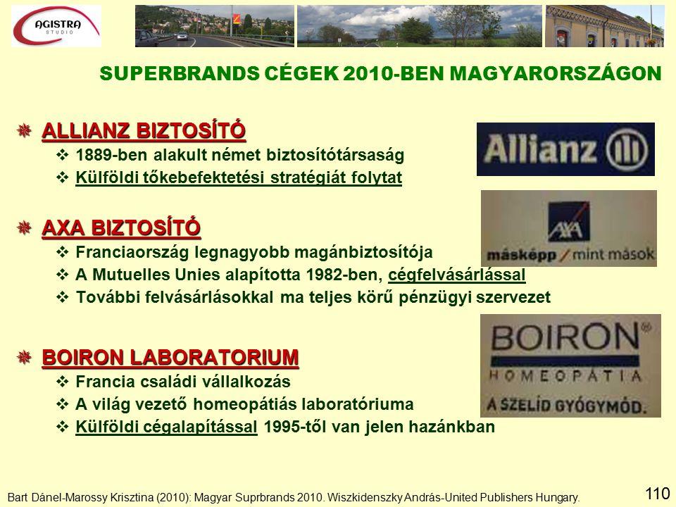 110  ALLIANZ BIZTOSÍTÓ v1889-ben alakult német biztosítótársaság vKülföldi tőkebefektetési stratégiát folytat  AXA BIZTOSÍTÓ vFranciaország legnagyobb magánbiztosítója vA Mutuelles Unies alapította 1982-ben, cégfelvásárlással vTovábbi felvásárlásokkal ma teljes körű pénzügyi szervezet  BOIRON LABORATORIUM vFrancia családi vállalkozás vA világ vezető homeopátiás laboratóriuma vKülföldi cégalapítással 1995-től van jelen hazánkban SUPERBRANDS CÉGEK 2010-BEN MAGYARORSZÁGON Bart Dánel-Marossy Krisztina (2010): Magyar Suprbrands 2010.