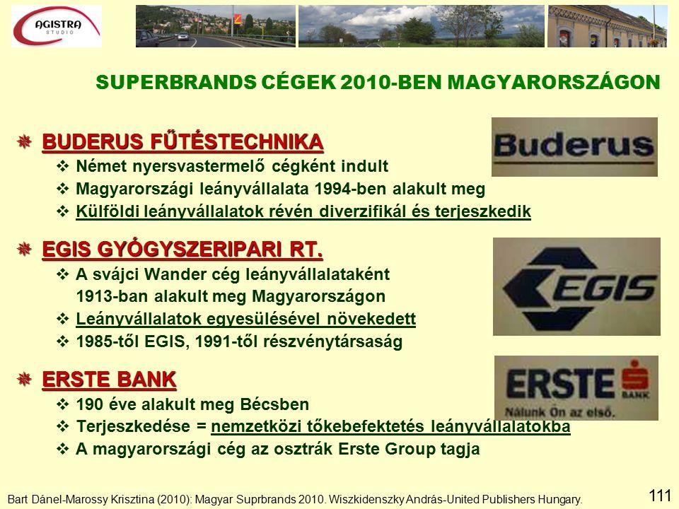 111  BUDERUS FŰTÉSTECHNIKA vNémet nyersvastermelő cégként indult vMagyarországi leányvállalata 1994-ben alakult meg vKülföldi leányvállalatok révén diverzifikál és terjeszkedik  EGIS GYÓGYSZERIPARI RT.