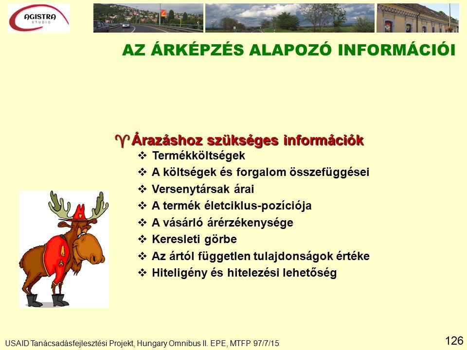 126 USAID Tanácsadásfejlesztési Projekt, Hungary Omnibus II. EPE, MTFP 97/7/15 ^Árazáshoz szükséges információk v vTermékköltségek v vA költségek és f