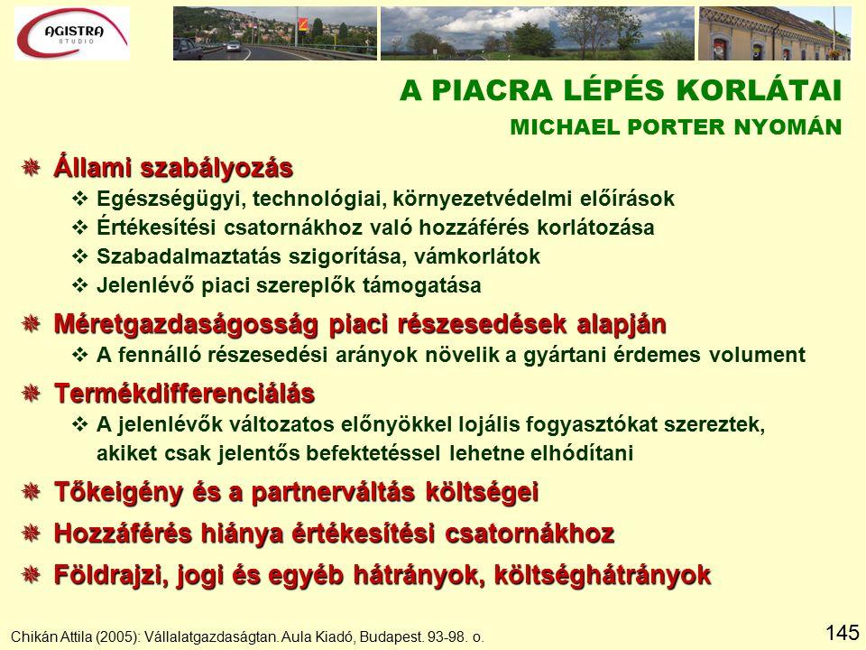 145 Chikán Attila (2005): Vállalatgazdaságtan. Aula Kiadó, Budapest. 93-98. o. A PIACRA LÉPÉS KORLÁTAI MICHAEL PORTER NYOMÁN  Állami szabályozás vEgé