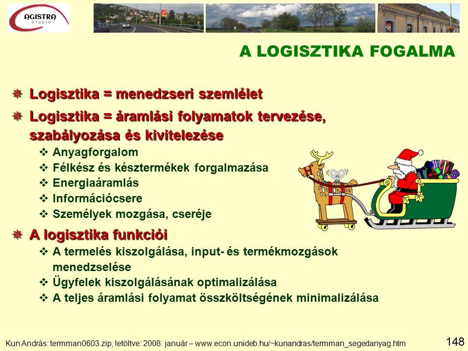 148 A LOGISZTIKA FOGALMA  Logisztika = menedzseri szemlélet  Logisztika = áramlási folyamatok tervezése, szabályozása és kivitelezése vAnyagforgalom vFélkész és késztermékek forgalmazása vEnergiaáramlás vInformációcsere vSzemélyek mozgása, cseréje  A logisztika funkciói vA termelés kiszolgálása, input- és termékmozgások menedzselése vÜgyfelek kiszolgálásának optimalizálása vA teljes áramlási folyamat összköltségének minimalizálása Kun András: termman0603.zip, letöltve: 2008.