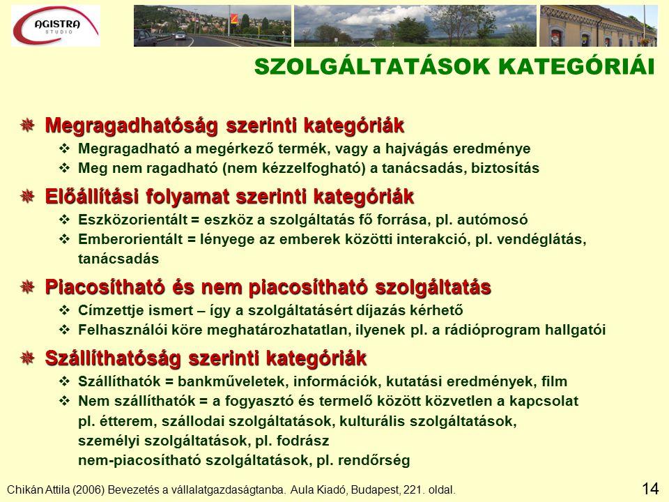 14 Chikán Attila (2006) Bevezetés a vállalatgazdaságtanba. Aula Kiadó, Budapest, 221. oldal. SZOLGÁLTATÁSOK KATEGÓRIÁI  Megragadhatóság szerinti kate