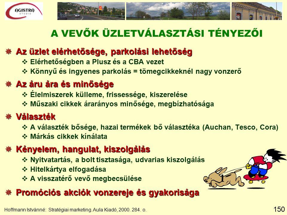 150 Hoffmann Istvánné: Stratégiai marketing. Aula Kiadó, 2000. 284. o. A VEVŐK ÜZLETVÁLASZTÁSI TÉNYEZŐI  Az üzlet elérhetősége, parkolási lehetőség v