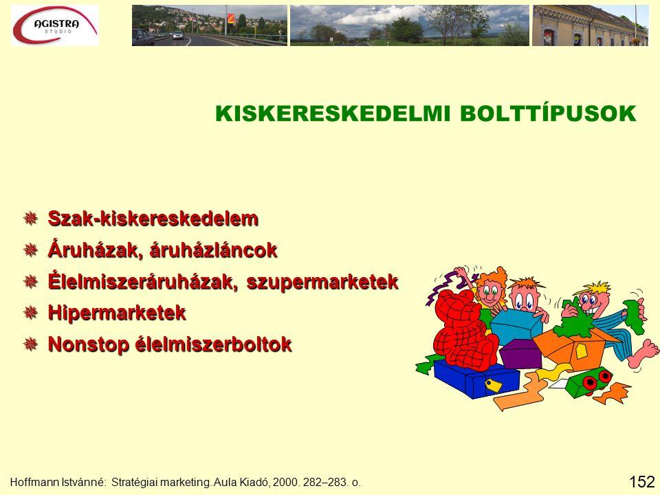 152 Hoffmann Istvánné: Stratégiai marketing. Aula Kiadó, 2000. 282–283. o. KISKERESKEDELMI BOLTTÍPUSOK  Szak-kiskereskedelem  Áruházak, áruházláncok