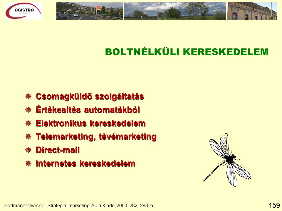 159 Hoffmann Istvánné: Stratégiai marketing. Aula Kiadó, 2000. 282–283. o. BOLTNÉLKÜLI KERESKEDELEM  Csomagküldő szolgáltatás  Értékesítés automaták