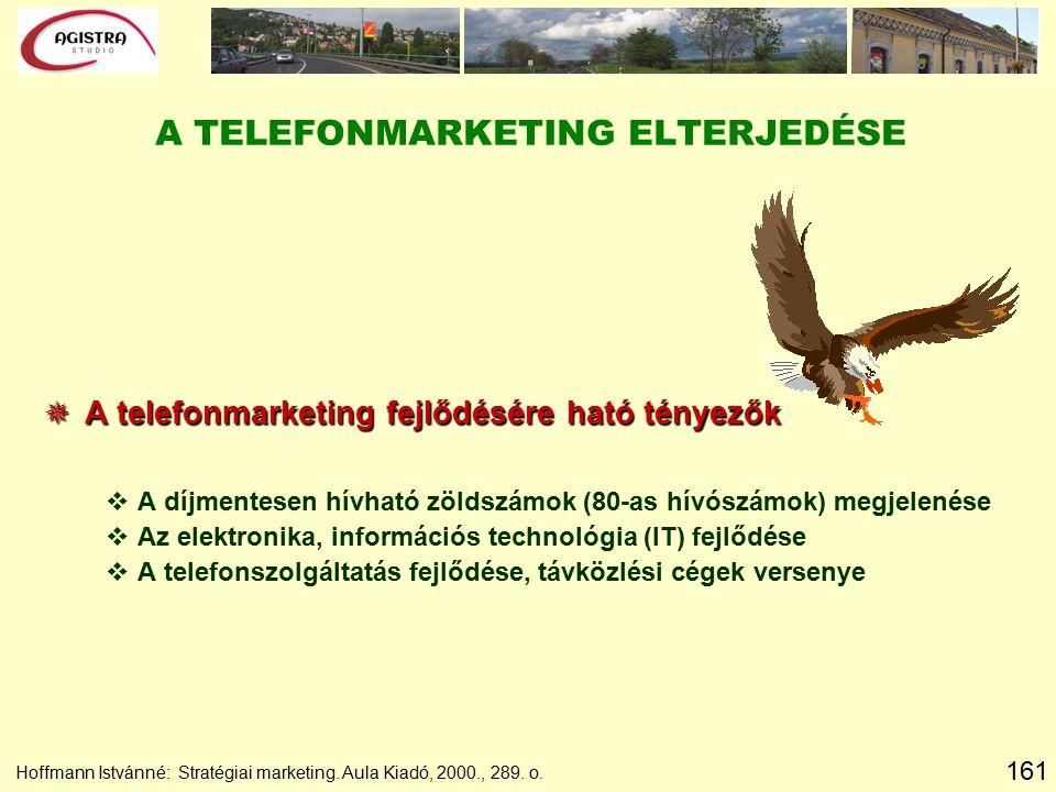 161 Hoffmann Istvánné: Stratégiai marketing. Aula Kiadó, 2000., 289. o. A TELEFONMARKETING ELTERJEDÉSE  A telefonmarketing fejlődésére ható tényezők