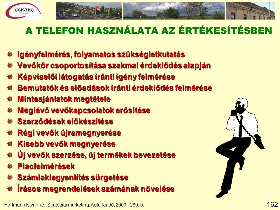 162 Hoffmann Istvánné: Stratégiai marketing. Aula Kiadó, 2000., 289. o. A TELEFON HASZNÁLATA AZ ÉRTÉKESÍTÉSBEN  Igényfelmérés, folyamatos szükségletk