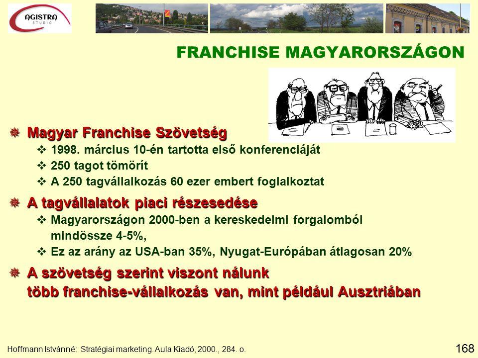 168 Hoffmann Istvánné: Stratégiai marketing. Aula Kiadó, 2000., 284. o. FRANCHISE MAGYARORSZÁGON  Magyar Franchise Szövetség v1998. március 10-én tar