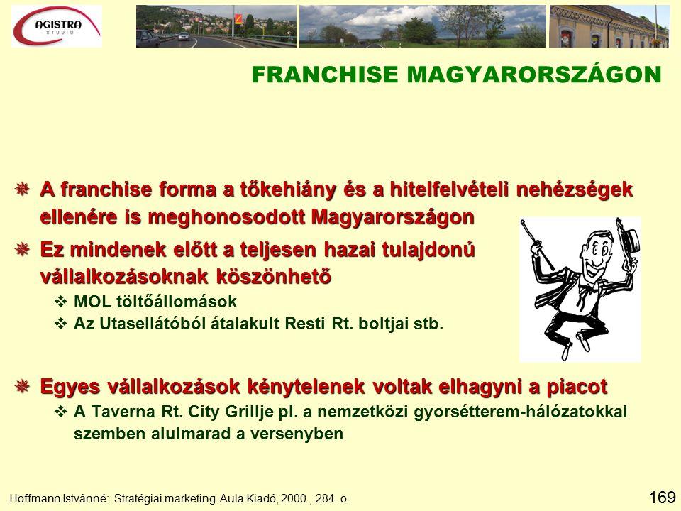 169 Hoffmann Istvánné: Stratégiai marketing. Aula Kiadó, 2000., 284. o. FRANCHISE MAGYARORSZÁGON  A franchise forma a tőkehiány és a hitelfelvételi n