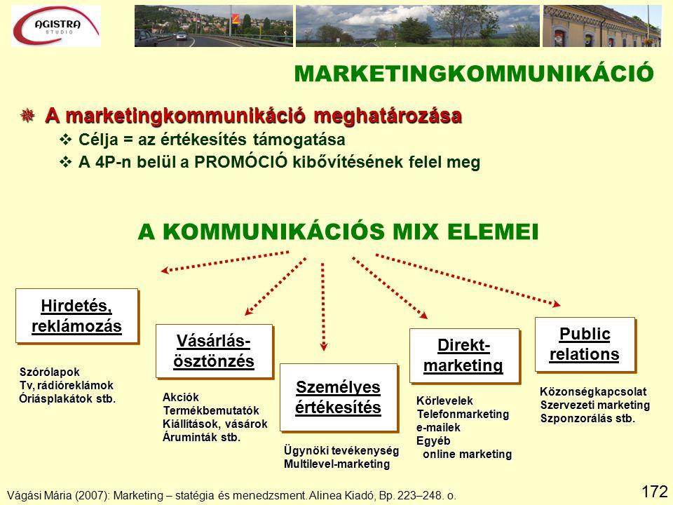 172 MARKETINGKOMMUNIKÁCIÓ  A marketingkommunikáció meghatározása vCélja = az értékesítés támogatása vA 4P-n belül a PROMÓCIÓ kibővítésének felel meg Vágási Mária (2007): Marketing – statégia és menedzsment.