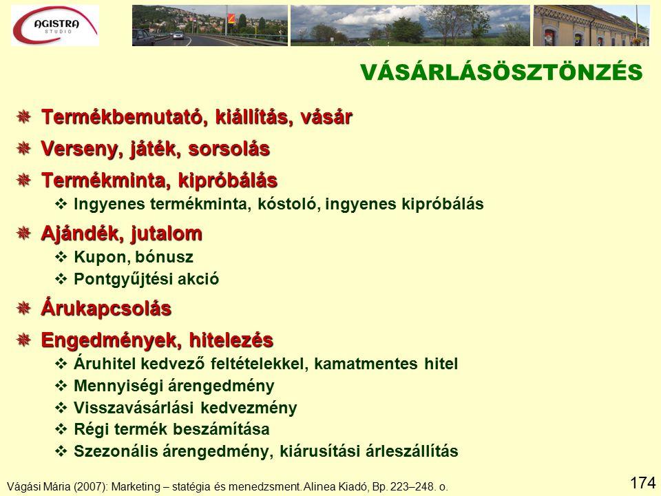 174 Vágási Mária (2007): Marketing – statégia és menedzsment. Alinea Kiadó, Bp. 223–248. o.  Termékbemutató, kiállítás, vásár  Verseny, játék, sorso