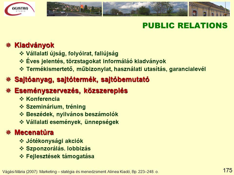 175 Vágási Mária (2007): Marketing – statégia és menedzsment. Alinea Kiadó, Bp. 223–248. o.  Kiadványok vVállalati újság, folyóirat, faliújság vÉves