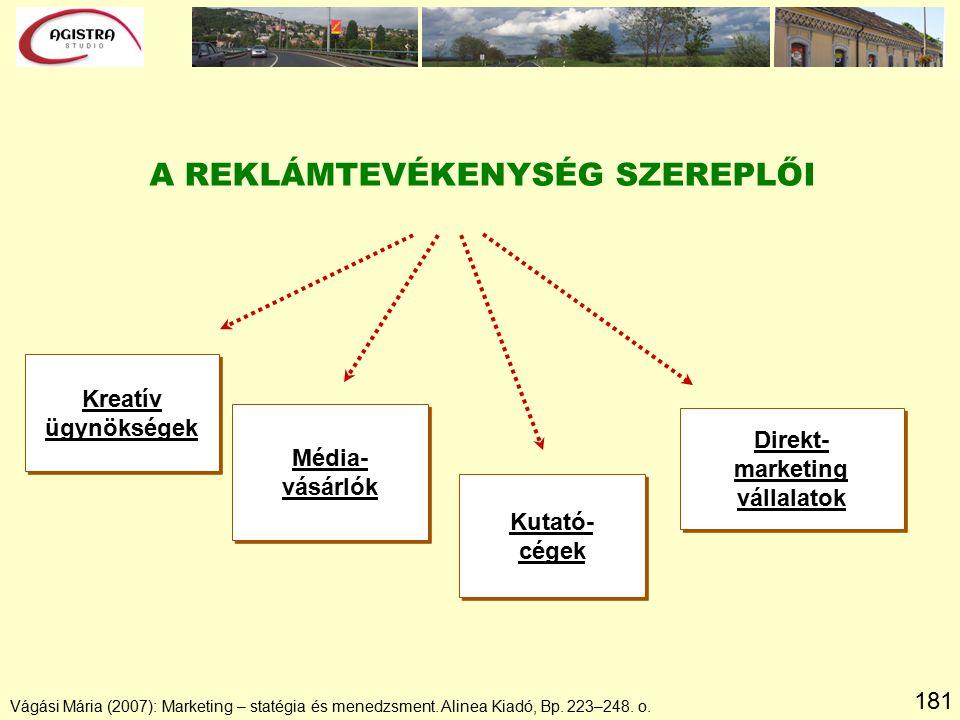 181 Vágási Mária (2007): Marketing – statégia és menedzsment. Alinea Kiadó, Bp. 223–248. o. A REKLÁMTEVÉKENYSÉG SZEREPLŐI Kreatív ügynökségek Kreatív