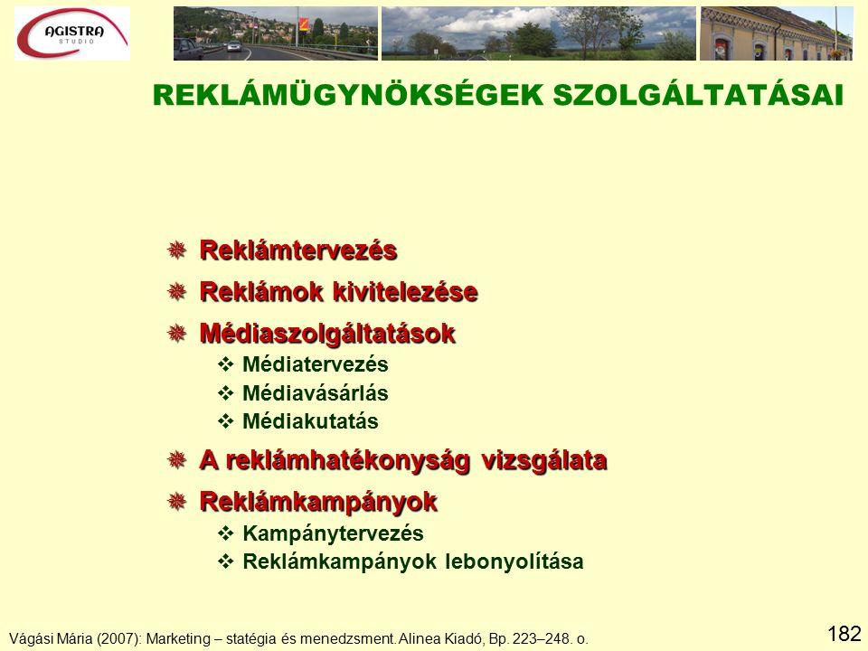 182 Vágási Mária (2007): Marketing – statégia és menedzsment. Alinea Kiadó, Bp. 223–248. o.  Reklámtervezés  Reklámok kivitelezése  Médiaszolgáltat