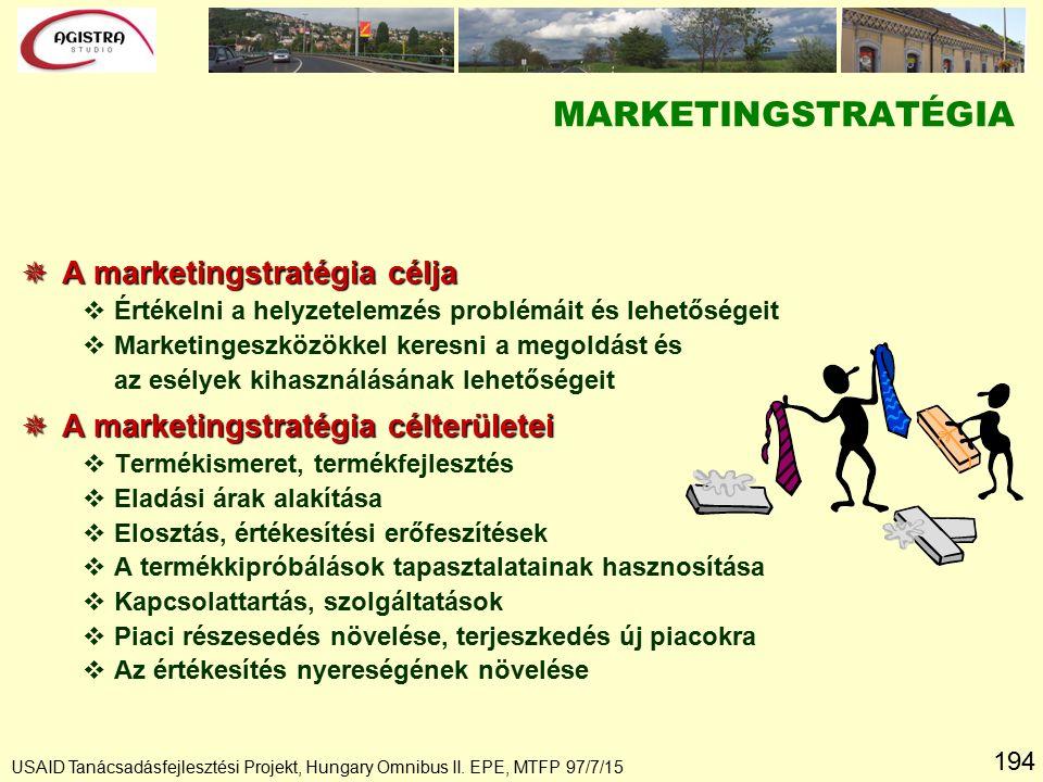 194 USAID Tanácsadásfejlesztési Projekt, Hungary Omnibus II. EPE, MTFP 97/7/15 MARKETINGSTRATÉGIA  A marketingstratégia célja vÉrtékelni a helyzetele