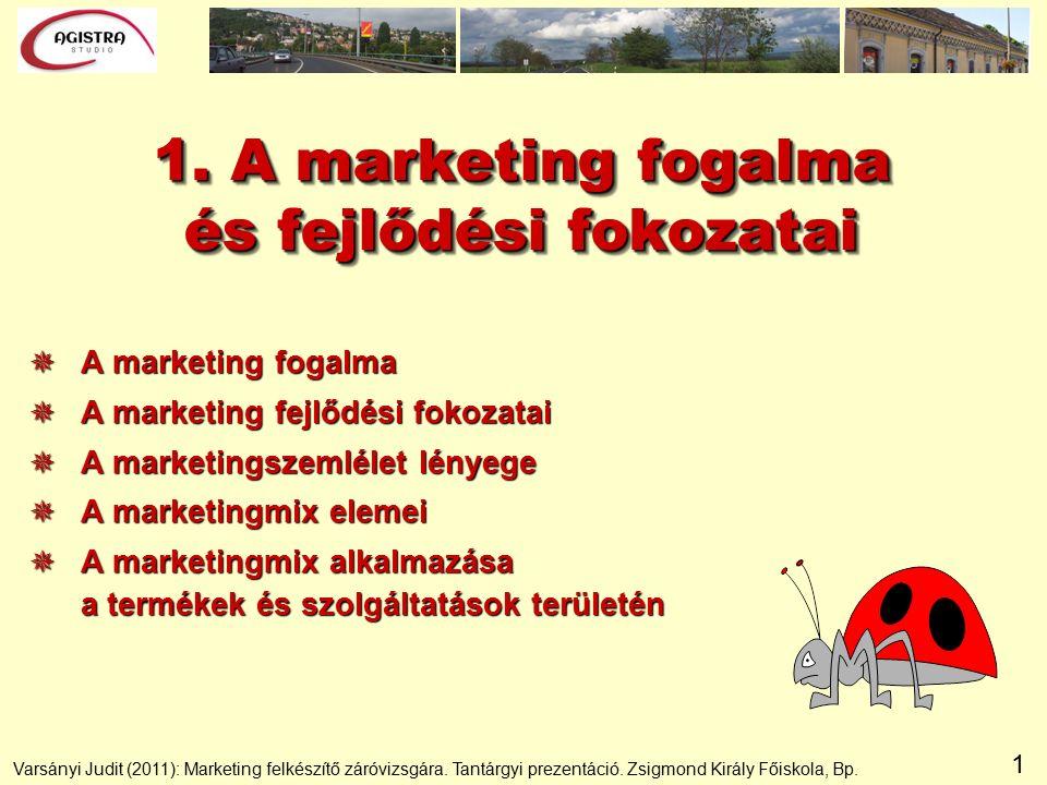 1 1. A marketing fogalma és fejlődési fokozatai  A marketing fogalma  A marketing fejlődési fokozatai  A marketingszemlélet lényege  A marketingmi