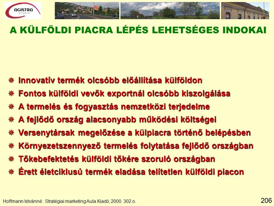 206 Hoffmann Istvánné: Stratégiai marketing Aula Kiadó, 2000. 302.o. A KÜLFÖLDI PIACRA LÉPÉS LEHETSÉGES INDOKAI  Innovatív termék olcsóbb előállítása