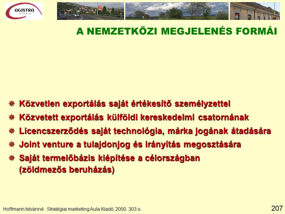207 Hoffmann Istvánné: Stratégiai marketing Aula Kiadó, 2000. 303.o. A NEMZETKÖZI MEGJELENÉS FORMÁI  Közvetlen exportálás saját értékesítő személyzet