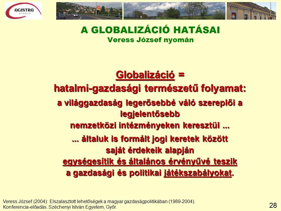28 A GLOBALIZÁCIÓ HATÁSAI Veress József nyomán Globalizáció = hatalmi-gazdasági természetű folyamat: a világgazdaság legerősebbé váló szereplői a legjelentősebb nemzetközi intézményeken keresztül......