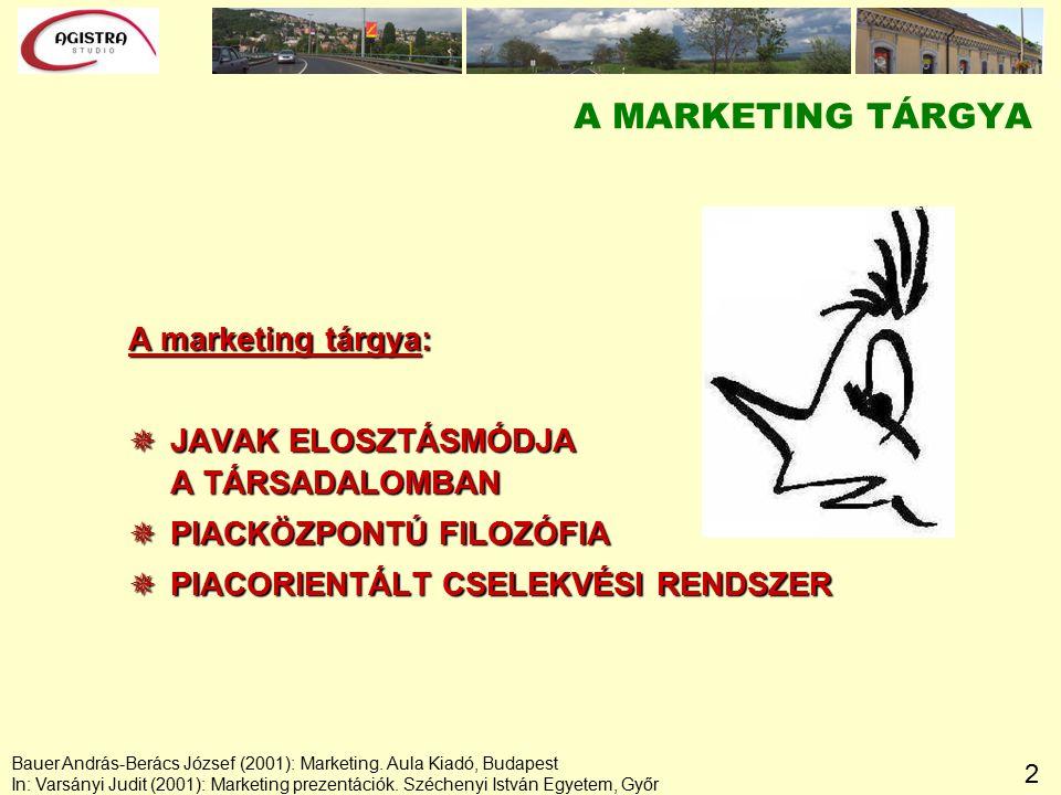 2 A MARKETING TÁRGYA A marketing tárgya:  JAVAK ELOSZTÁSMÓDJA A TÁRSADALOMBAN  PIACKÖZPONTÚ FILOZÓFIA  PIACORIENTÁLT CSELEKVÉSI RENDSZER Bauer András-Berács József (2001): Marketing.
