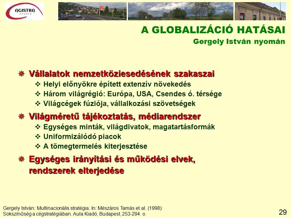 29 Gergely István: Multinacionális stratégia. In: Mészáros Tamás et al. (1998): Sokszínűség a cégstratégiában. Aula Kiadó, Budapest, 253-294. o. A GLO