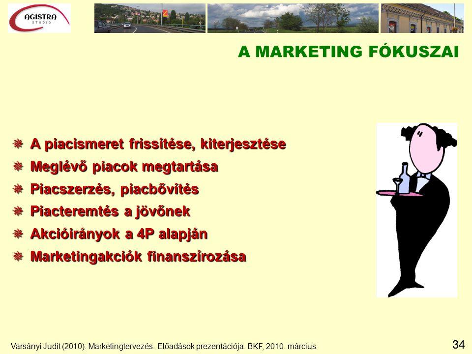 34 A MARKETING FÓKUSZAI  A piacismeret frissítése, kiterjesztése  Meglévő piacok megtartása  Piacszerzés, piacbővítés  Piacteremtés a jövőnek  Akcióirányok a 4P alapján  Marketingakciók finanszírozása Varsányi Judit (2010): Marketingtervezés.